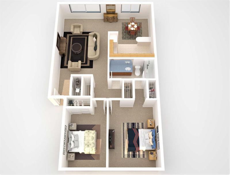 floorplan thumbnail for Two Bedroom